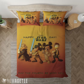 Bedding Sheet Mickey Mouse Minnie Mouse Disney Star Wars Happy Day Duvet Cover and Pillow Case Bedding Set