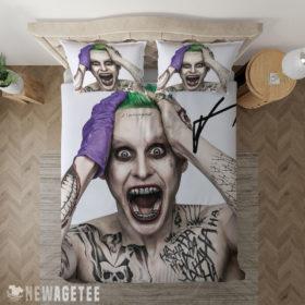 Bedding Sheet Suicide Squad Jared Leto Joker Signed Duvet Cover and Pillow Case Bedding Set