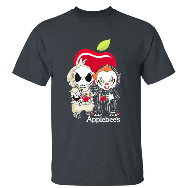 Dark Heather T Shirt Baby Jack Skellington And Baby Pennywise Is Friends Applebees Shirt