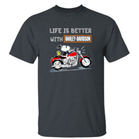 Dark Heather T Shirt Best snoopy life is better with Harley Davidson shirt
