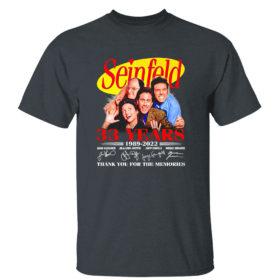Dark Heather T Shirt Seinfeld 33 years 1989 2022 thank you memories signatures shirt