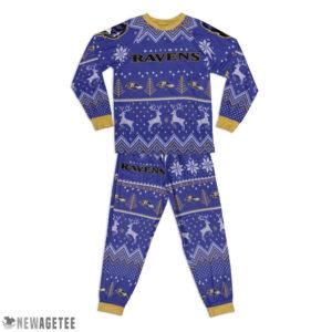 Kid Baltimore Ravens Ugly Pattern Raglan Pajamas Set