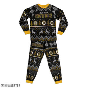 Kid Boston Bruins Ugly Pattern Raglan Pajamas Set