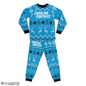 Kid Carolina Panthers Ugly Pattern Raglan Pajamas Set