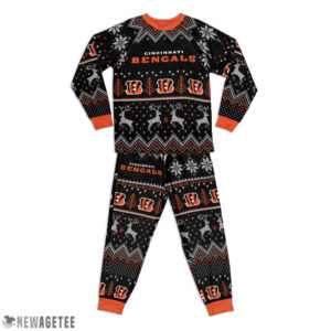 Kid Cincinnati Bengals Ugly Pattern Raglan Pajamas Set