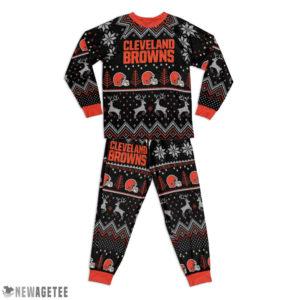 Kid Cleveland Browns Ugly Pattern Raglan Pajamas Set