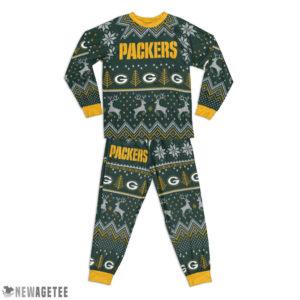 Kid Green Bay Packers Ugly Pattern Raglan Pajamas Set