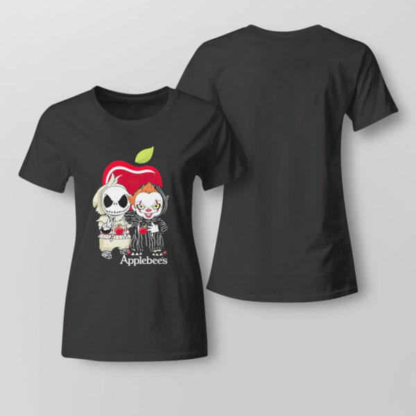 Lady Tee Baby Jack Skellington And Baby Pennywise Is Friends Applebees Shirt