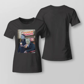 Lady Tee Michael Myers and Jason Voorhees drink dunkin donuts shirt