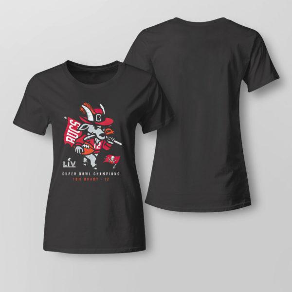 Lady Tee Tampa Bay Buccaneers Tom Brady Super Bowl LV Champions GOAT Shirt