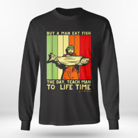 Longsleeve shirt Joe Biden Mens Buy a Man Eat Fish the Day Teach Man shirt