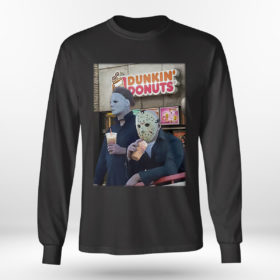 Longsleeve shirt Michael Myers and Jason Voorhees drink dunkin donuts shirt