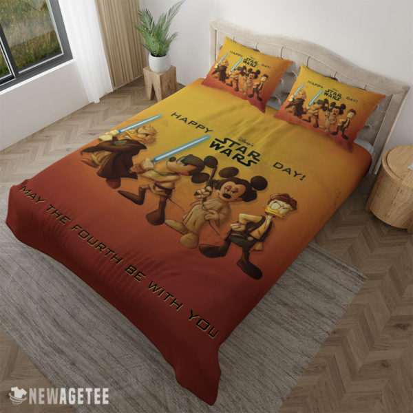 Pillow Case Mickey Mouse Minnie Mouse Disney Star Wars Happy Day Duvet Cover and Pillow Case Bedding Set