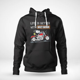 Pullover Hoodie Best snoopy life is better with Harley Davidson shirt