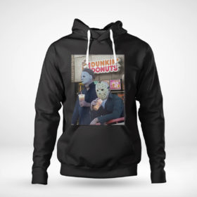 Pullover Hoodie Michael Myers and Jason Voorhees drink dunkin donuts shirt