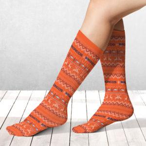 Socks Denver Broncos Adult Ugly Christmas Crew Socks