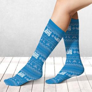 Socks Detroit Lions Ugly Pattern Raglan Pajamas Set copy