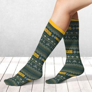 Socks Green Bay Packers Adult Ugly Christmas Crew Socks