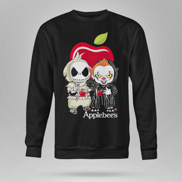 Sweetshirt Baby Jack Skellington And Baby Pennywise Is Friends Applebees Shirt