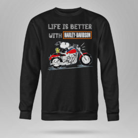Sweetshirt Best snoopy life is better with Harley Davidson shirt