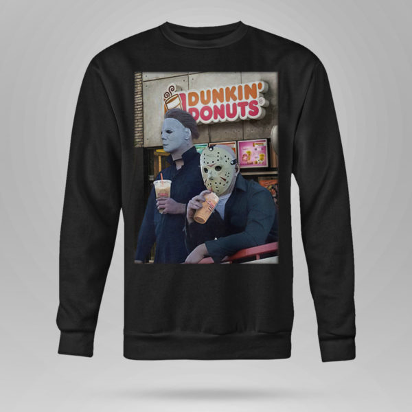 Sweetshirt Michael Myers and Jason Voorhees drink dunkin donuts shirt