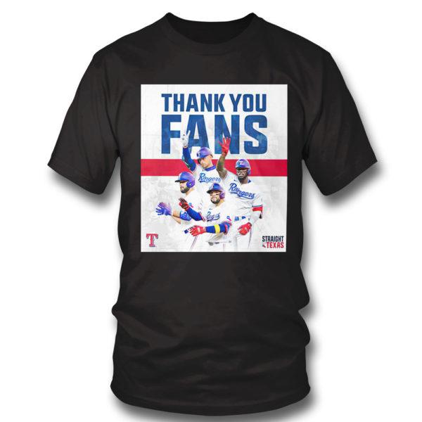 T Shirt Thank You Fans Texas Rangers Straight Up Shirt