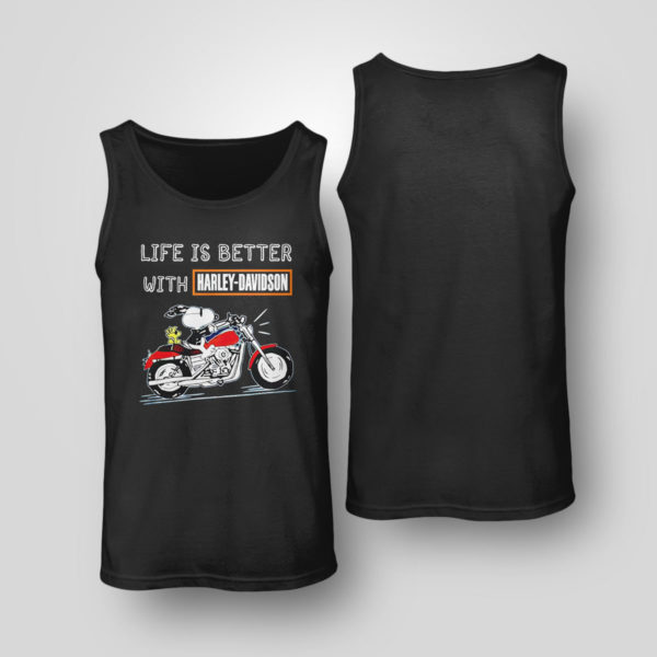 Tank Top Best snoopy life is better with Harley Davidson shirt