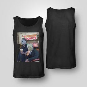 Tank Top Michael Myers and Jason Voorhees drink dunkin donuts shirt