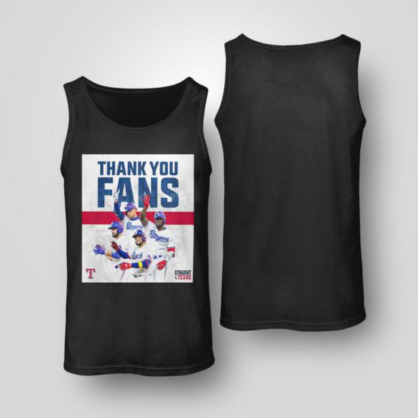 Tank Top Thank You Fans Texas Rangers Straight Up Shirt